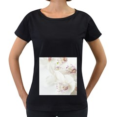 Orchids Flowers White Background Women s Loose-Fit T-Shirt (Black)