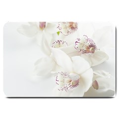 Orchids Flowers White Background Large Doormat