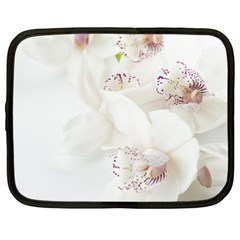 Orchids Flowers White Background Netbook Case (Large)