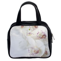 Orchids Flowers White Background Classic Handbags (2 Sides)