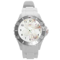 Orchids Flowers White Background Round Plastic Sport Watch (L)