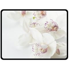 Orchids Flowers White Background Double Sided Fleece Blanket (Large)