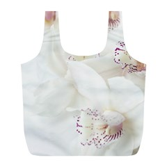 Orchids Flowers White Background Full Print Recycle Bags (L)