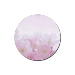 Pink Blossom Bloom Spring Romantic Rubber Round Coaster (4 pack)