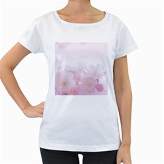 Pink Blossom Bloom Spring Romantic Women s Loose-Fit T-Shirt (White)