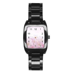 Pink Blossom Bloom Spring Romantic Stainless Steel Barrel Watch