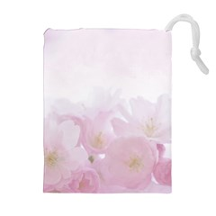 Pink Blossom Bloom Spring Romantic Drawstring Pouches (Extra Large)