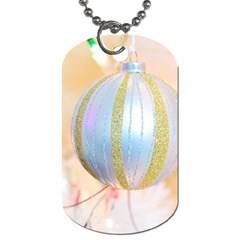 Sphere Tree White Gold Silver Dog Tag (Two Sides)