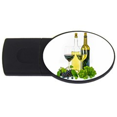 White Wine Red Wine The Bottle USB Flash Drive Oval (2 GB)
