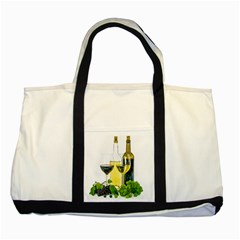 White Wine Red Wine The Bottle Two Tone Tote Bag