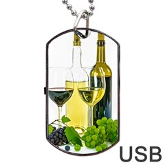 White Wine Red Wine The Bottle Dog Tag USB Flash (One Side)