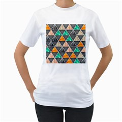Abstract Geometric Triangle Shape Women s T-Shirt (White) (Two Sided)