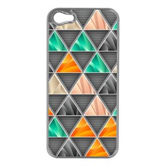 Abstract Geometric Triangle Shape Apple iPhone 5 Case (Silver)