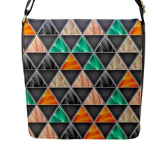 Abstract Geometric Triangle Shape Flap Messenger Bag (L)