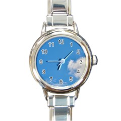 Air Sky Cloud Background Clouds Round Italian Charm Watch