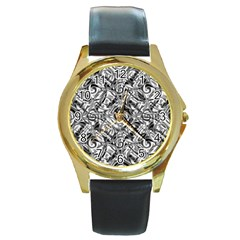 Gray Scale Pattern Tile Design Round Gold Metal Watch