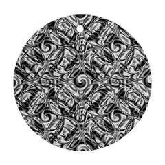 Gray Scale Pattern Tile Design Round Ornament (Two Sides)