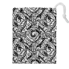 Gray Scale Pattern Tile Design Drawstring Pouches (XXL)