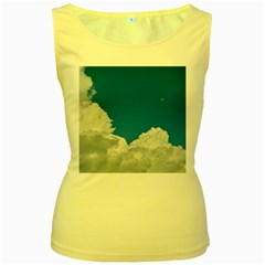 Sky Clouds Blue White Weather Air Women s Yellow Tank Top