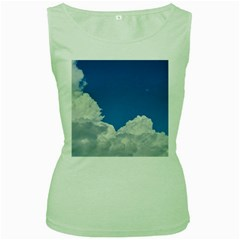 Sky Clouds Blue White Weather Air Women s Green Tank Top
