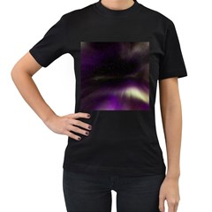 The Northern Lights Nature Women s T-Shirt (Black) (Two Sided)