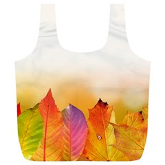 Autumn Leaves Colorful Fall Foliage Full Print Recycle Bags (L)