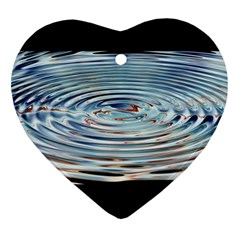 Wave Concentric Waves Circles Water Heart Ornament (Two Sides)