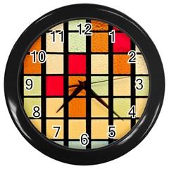 Mozaico Colors Glass Church Color Wall Clocks (Black)