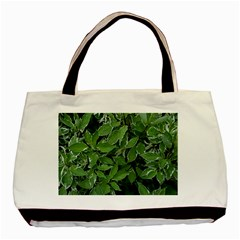 Texture Leaves Light Sun Green Basic Tote Bag (Two Sides)