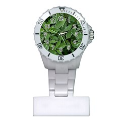Texture Leaves Light Sun Green Plastic Nurses Watch