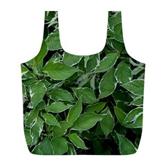 Texture Leaves Light Sun Green Full Print Recycle Bags (L)