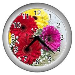 Flowers Gerbera Floral Spring Wall Clocks (Silver)