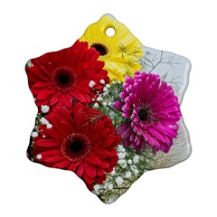 Flowers Gerbera Floral Spring Snowflake Ornament (Two Sides)