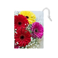 Flowers Gerbera Floral Spring Drawstring Pouches (Medium)