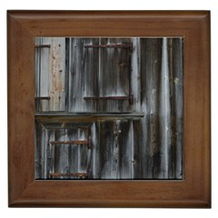 Alpine Hut Almhof Old Wood Grain Framed Tiles