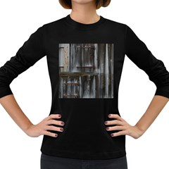 Alpine Hut Almhof Old Wood Grain Women s Long Sleeve Dark T-Shirts