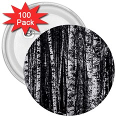 Birch Forest Trees Wood Natural 3  Buttons (100 pack)