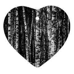 Birch Forest Trees Wood Natural Heart Ornament (Two Sides)