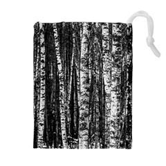 Birch Forest Trees Wood Natural Drawstring Pouches (Extra Large)