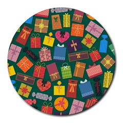 Presents Gifts Background Colorful Round Mousepads