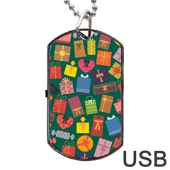 Presents Gifts Background Colorful Dog Tag USB Flash (Two Sides)