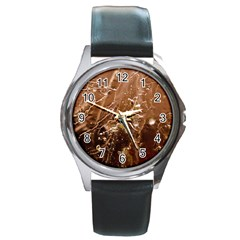 Ice Iced Structure Frozen Frost Round Metal Watch