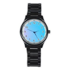 Background Graphics Lines Wave Stainless Steel Round Watch