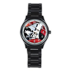Footrests Motorcycle Page Stainless Steel Round Watch