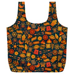 Pattern Background Ethnic Tribal Full Print Recycle Bags (L)