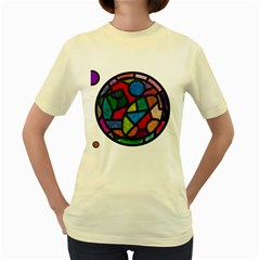 Stained Glass Color Texture Sacra Women s Yellow T-Shirt