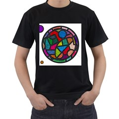 Stained Glass Color Texture Sacra Men s T-Shirt (Black) (Two Sided)