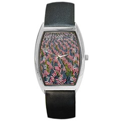 Repetition Retro Wallpaper Stripes Barrel Style Metal Watch