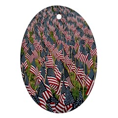 Repetition Retro Wallpaper Stripes Oval Ornament (Two Sides)
