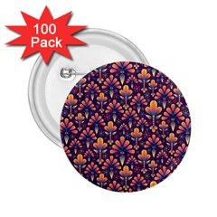 Abstract Background Floral Pattern 2.25  Buttons (100 pack)